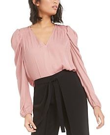 Bar III Puff-Sleeve V-Neck Top, Created for Macy's