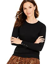 Charter Club Petite Button-Cuff Merino Wool Sweater, Created for Macy's