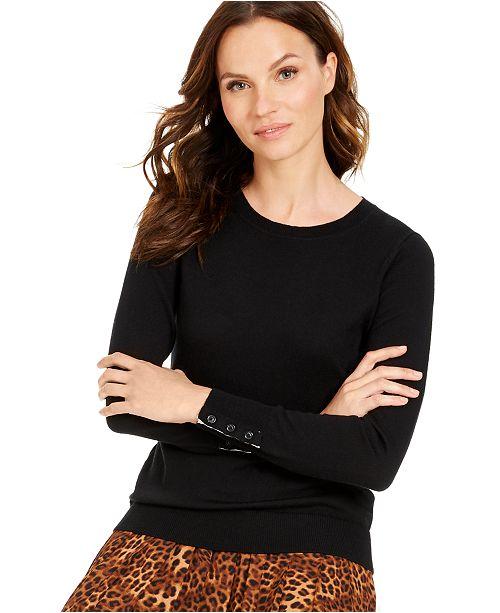 Charter Club Petite Button-Cuff Merino Wool Sweater, Created for Macy's