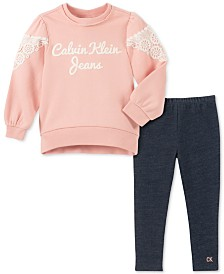 Calvin Klein Little Girls Lace-Trim Sweatshirt & Leggings Set