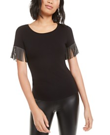 Bar III Studded Fringe T-Shirt, Created for Macy's