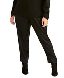RACHEL Rachel Roy Trendy Plus Size Shelle Leopard-Print Paperbag Pants