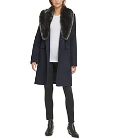 Single-Breasted Faux-Fur Shawl Collar Coat