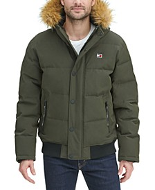 Men's Short Parka Jacket with Faux Fur Hood