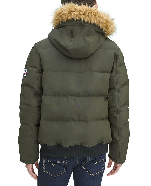 more photos more photos complimentary shipping Men's Big & Tall Short Parka Jacket with Faux Fur Hood