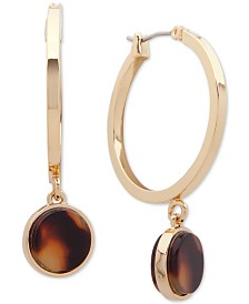 Lauren Ralph Lauren Small Gold-Tone & Tortoise-Look Hoop Earrings 1""