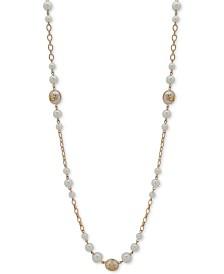 "Lauren Ralph Lauren Gold-Tone & Imitation Pearl Crest 42"" Strand Necklace"