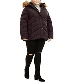 Madden Girl Juniors' Plus Size Faux-Fur Trim Hooded Puffer Coat