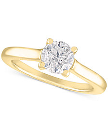 Certified Diamond Solitaire Engagement Ring (1 ct. t.w.) in 14k White Gold