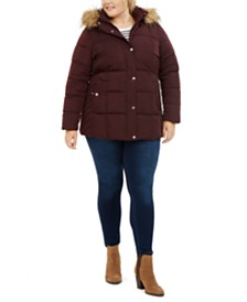 Tommy Hilfiger Plus Size Faux-Fur Trim Hooded Puffer Coat, Created For Macy's