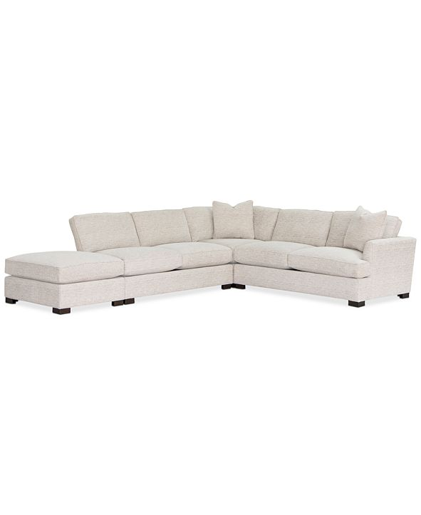 "Furniture Juliam 4-Pc. Fabric Open ""L"" Shape Sectional Sofa, Created for Macy's"