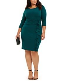 Jessica Howard Plus Size Ruched-Waist Side-Ruffled Dress