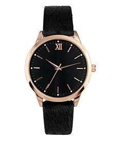 INC Women's Black Faux-Leather Strap Watch 39mm, Created For Macy's