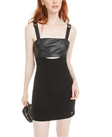 Armani Exchange Mixed-Media Keyhole-Cutout Dress