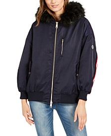 Armani Exchange Faux-Fur-Tim Hooded Bomber Jacket