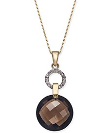"Smoky Quartz (9 ct. t.w.) & Diamond (1/10 ct. t.w.) 18"" Pendant Necklace in 14k Gold"