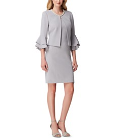 Tahari ASL Pearl-Collar Dress Suit
