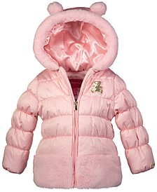 Little Girls Hooded Teddy Puffer Coat With Faux-Fur Trim