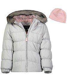 Weathertamer Toddler Girls Hooded Puffer Jacket With Faux-Fur Trim & Hat
