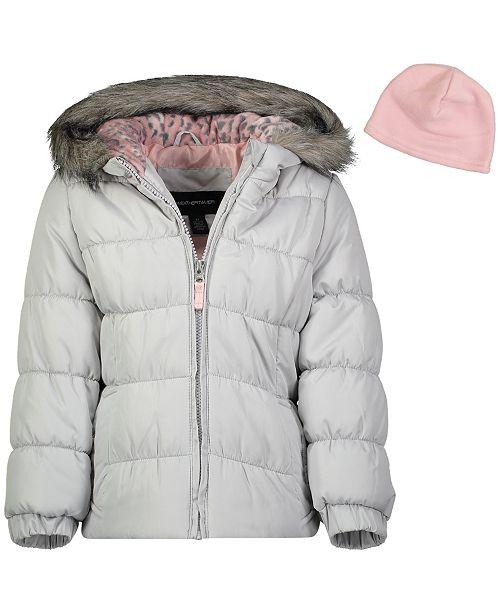 Weathertamer Big Girls Hooded Puffer Jacket With Faux-Fur Trim