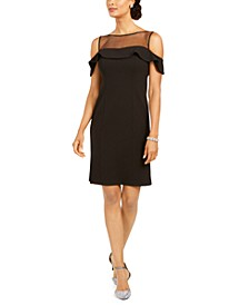 Petite Illusion-Yoke Cold-Shoulder Sheath Dress