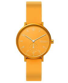 Skagen Women's Aaren Kulor Yellow Silicone Strap Watch 36mm