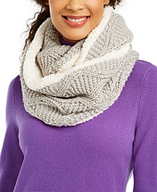 INC Cable-Knit Shine Loop Scarf With Faux-Sherpa Lining, Created For Macy's