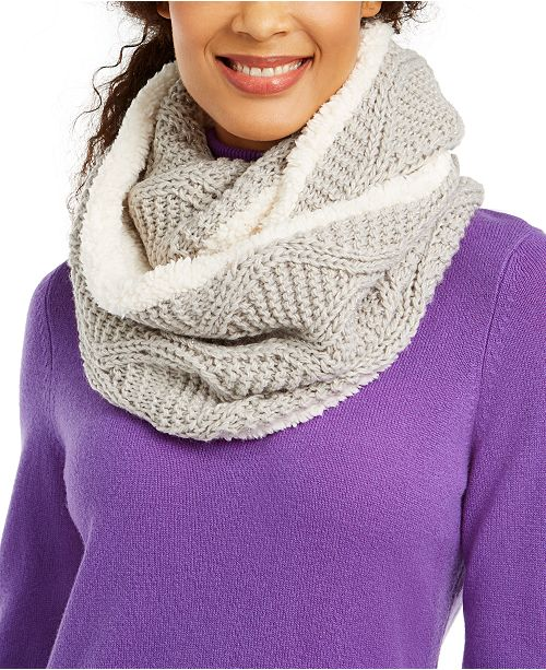 INC International Concepts INC Cable-Knit Shine Loop Scarf With Faux-Sherpa Lining, Created For Macy's