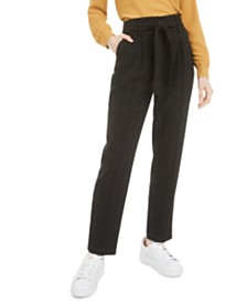 Bar III Tie-Waist Windowpane-Print Pants, Created for Macy's