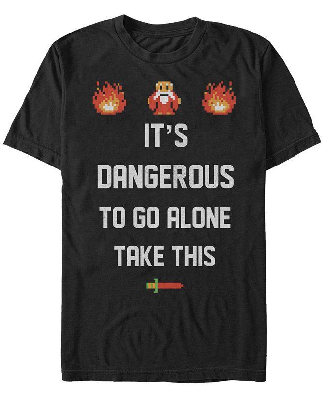 Nintendo Men's Legend of Zelda It's Dangerous To Go Alone Quote Short Sleeve T-Shirt