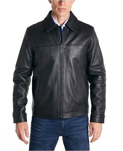 Perry Ellis Men's Classic Leather Jacket