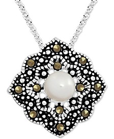 "Genuine Swarovski Marcasite & Freshwater Pearl (8mm) Open Diamond-Shape 18"" Pendant Necklace in Fine Silver-Plate"