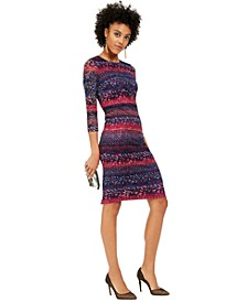 Printed Lace Midi Bodycon Dress