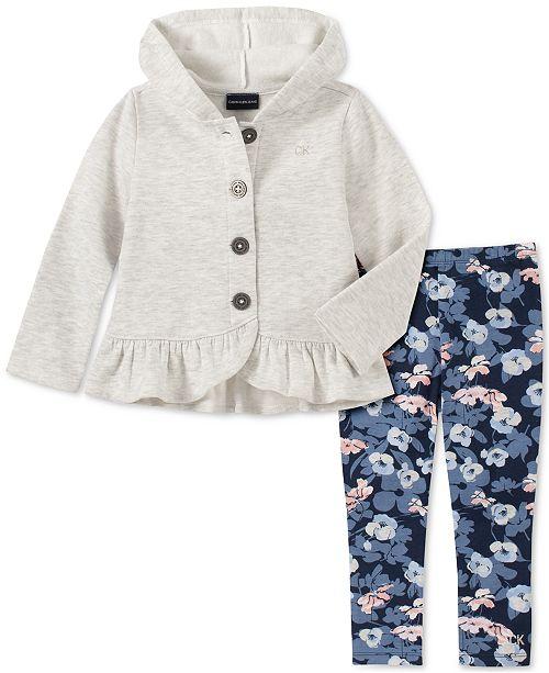Calvin Klein Toddler Girls 2-Pc. Fleece Jacket & Printed Leggings Set