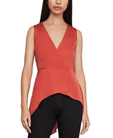 BCBGMAXAZRIA High-Low Peplum Top