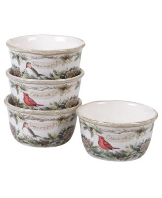 Holly and Ivy 4-Pc. Ice Cream Bowl