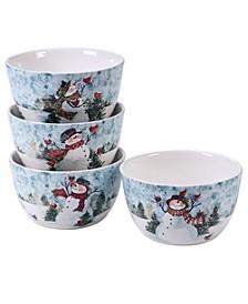 Watercolor Snowman 4-Pc. Ice Cream Bowl