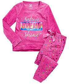 Max & Olivia Big Girls 2-Pc. Dream Velour Pajamas Set