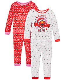 Toddler Girls 4-Pc. Cotton Santa's Helper Elmo Pajamas Set