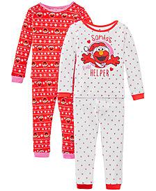 AME Toddler Girls 4-Pc. Cotton Santa's Helper Elmo Pajamas Set
