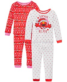 AME Toddler Girls 4-Pc. Cotton Santa's Helper Elmo Pajamas Set