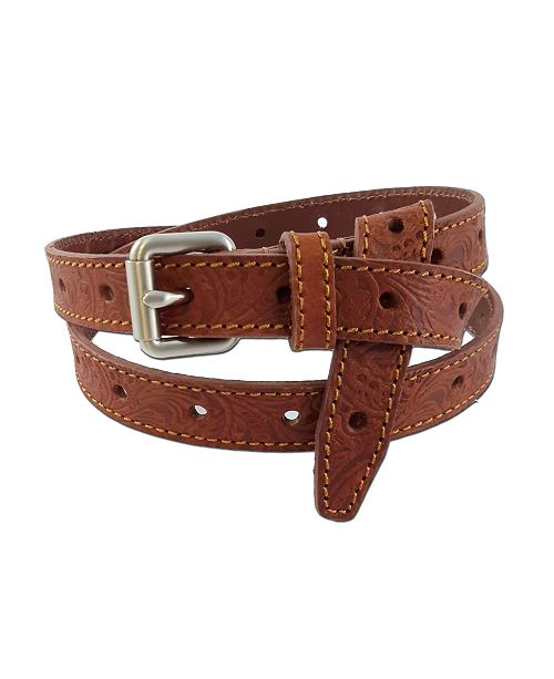 Fashion Focus Accessories Flower Embossed Casual Leather Belt