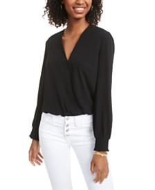 Material Girl Juniors' Surplice Bodysuit, Created for Macy's