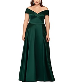 Plus Size Off-The-Shoulder Gown