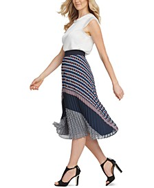 Pull-On Pleated Midi Skirt