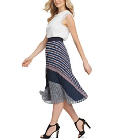 DKNY Pull-On Pleated Midi Skirt