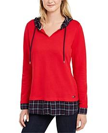 Layered-Look Hooded Sweatshirt