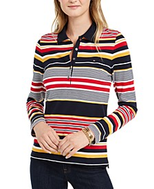 Striped Long-Sleeve Polo Top