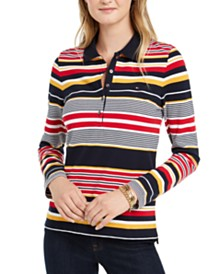 Tommy Hilfiger Striped Long-Sleeve Polo Top