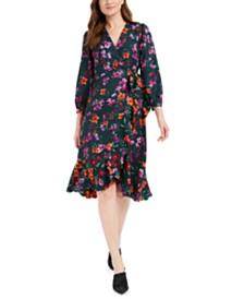 Calvin Klein Floral-Print Flounce Wrap Dress